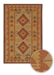 Artist's Loom Handmade Flatweave Country Oriental Wool Rug (5'x7'6) - Thumbnail 1