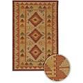 Artist's Loom Handmade Flatweave Country Oriental Wool Rug - 5' x 7'6