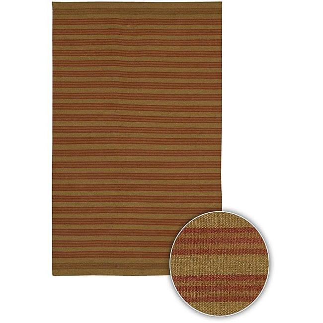 Artist's Loom Handmade Flatweave Casual Stripes Wool Rug (5'x7'6)