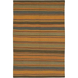 Artist's Loom Handmade Flatweave Casual Stripes Natural Eco-friendly Jute Rug (5'x7'6)