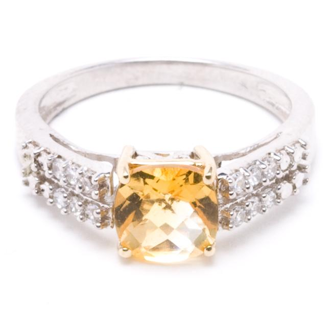Sterling Silver/ 10k Gold Created Citrine and Cubic Zirconia Ring (Size 7)