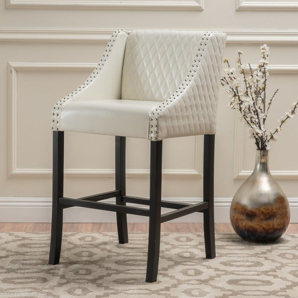 Milano Quilted Ivory Bonded Leather 28-inch Barstool by Christopher Knight Home
