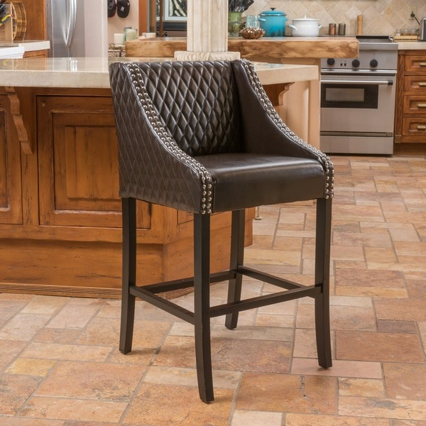Milano Brown Quilted Bonded Leather Barstool by Christopher Knight Home