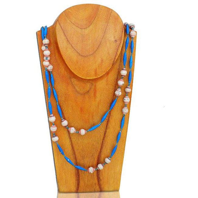 Paper Bead Long Blue Necklace (Kenya)