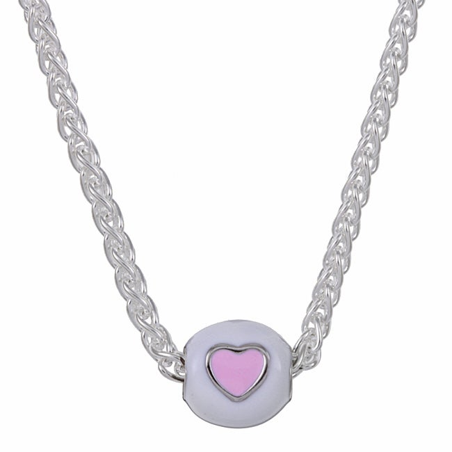 Sterling Essentials Sterling Silver 16-inch Pink and White Heart Bead Necklace