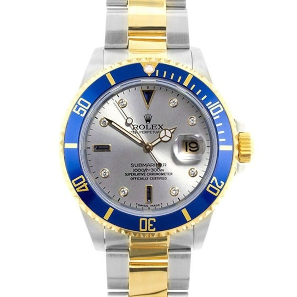 Pre-owned Rolex Date Submariner Men's Slate Serti Dial Two-tone Watch Model 16613