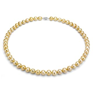 DaVonna Silver Golden FW Pearl 16-inch Necklace (7.5-8 mm)