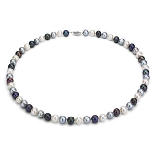 DaVonna Silver Multi Dark FW Pearl 16-inch Necklace (7.5-8 mm)