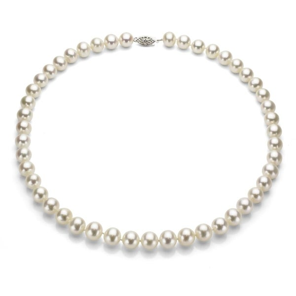 DaVonna Silver White FW Pearl 16-inch Necklace (6.5-7 mm)
