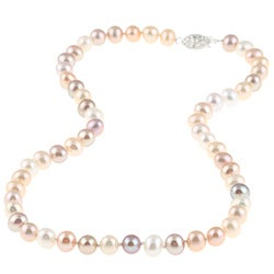 DaVonna Silver Multi Pink FW Pearl 16-inch Necklace (6.5-7 mm)