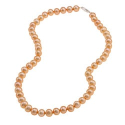 DaVonna Silver Golden FW Pearl 16-inch Necklace (6.5-7 mm)