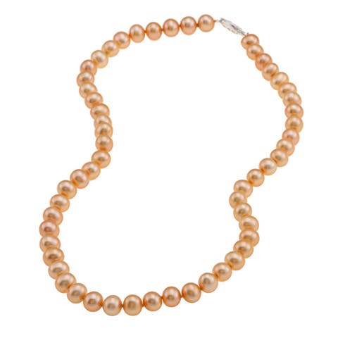 DaVonna Sterling Silver 6-7mm Golden Orange Freshwater Pearl Necklace