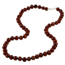 DaVonna Silver Chocolate FW Pearl 16-inch Necklace (6.5-7 mm)