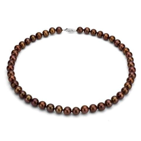 DaVonna Sterling silver 6-7 mm Brown Freshwater Pearl Necklaces