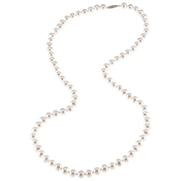 DaVonna Sterling Silver 6.5-7mm White Freshwater Pearl Necklace (16-36 inches)