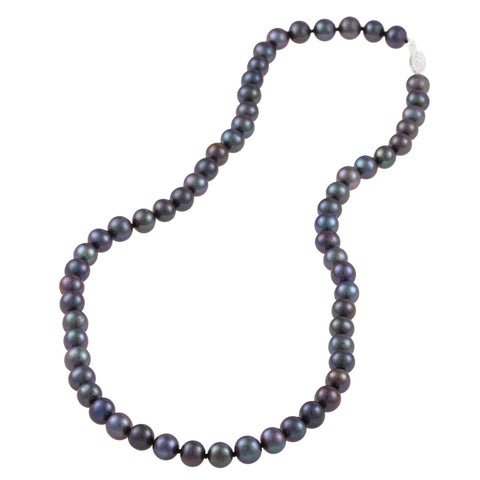 DaVonna Sterling Silver 6-7mm Black Freshwater Pearl Necklace