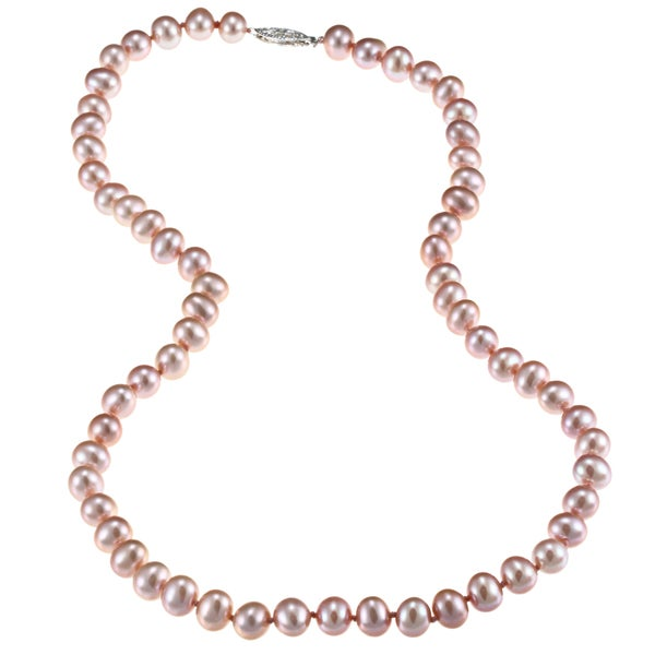 DaVonna Sterling Silver 6.5-7mm Pink Freshwater Pearl Necklace (16-36 inches)