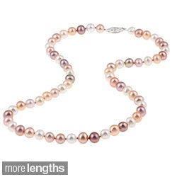 DaVonna Sterling Silver 6.5-7mm Pink Multi Freshwater Pearl Necklace (16-36 inches)