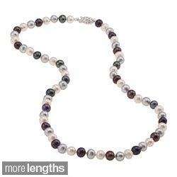 DaVonna Sterling Silver 6.5-7mm Dark Multi Freshwater Pearl Necklace (16-36 inches)