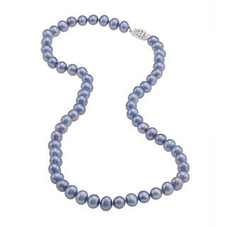 DaVonna Sterling Silver 6.5-7mm Blue Freshwater Pearl Necklace (16-36 inches)