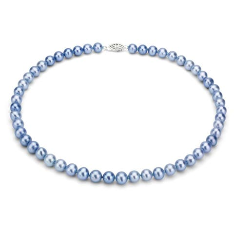 DaVonna Sterling Silver 6-7mm Blue Freshwater Pearl Necklace