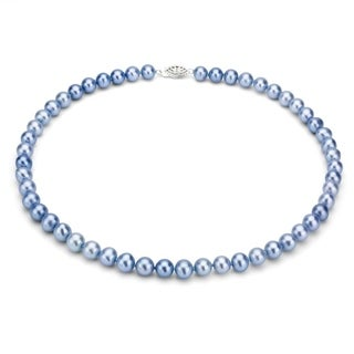 DaVonna Sterling Silver 6-7mm Blue Freshwater Pearl Necklace (16-36 inches) (More options available)