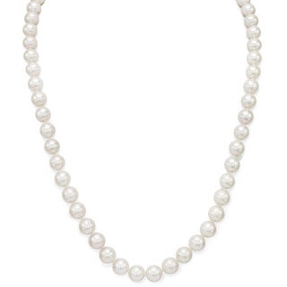 DaVonna Silver White FW Pearl 24-inch Necklace (6.5-7 mm)
