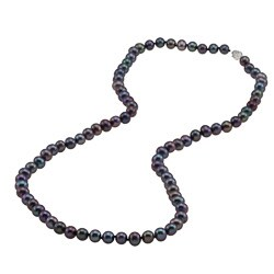 DaVonna Silver Black FW Pearl 24-inch Necklace (6.5-7 mm)