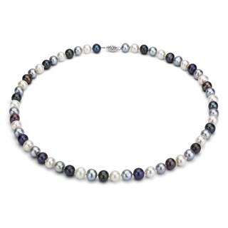 DaVonna Silver Multi Dark FW Pearl 24-inch Necklace (6.5-7 mm)