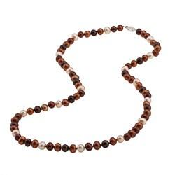DaVonna Silver Champange FW Pearl 24-inch Necklace (6.5-7 mm)
