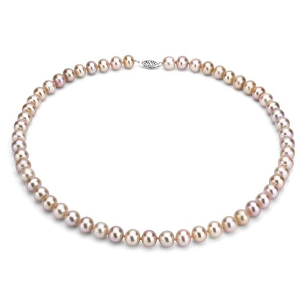 DaVonna Sterling Silver 7-7.5mm Pink Freshwater Pearl Necklace (16-36 inches)
