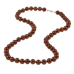 DaVonna Silver 18-inch Brown FW Pearl Necklace (7-7.5 mm)