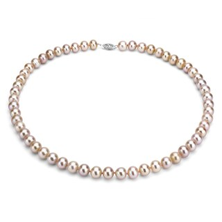 DaVonna Silver Pink FW Pearl 24-inch Necklace (7-7.5 mm)