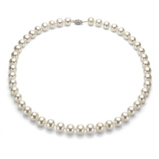 DaVonna Sterling Silver White Cultured Pearl 16-inch Necklace (7.5-8 mm)