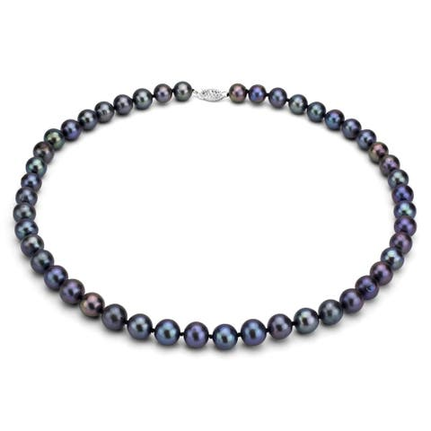 DaVonna Sterling Silver 7-8mm Black Freshwater Pearl Necklace