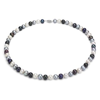 DaVonna Sterling Silver 7 8mm Dark Multi Freshwater Pearl Necklace