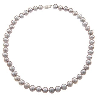 DaVonna Sterling Silver 7-8mm Grey Freshwater Pearl Necklace (16-36 inches)