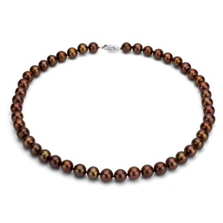 DaVonna Silver Chocolate FW Pearl 18-inch Necklace (7.5-8 mm)