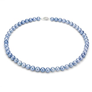 DaVonna Sterling Silver 7 8mm Blue Freshwater Pearl Necklace