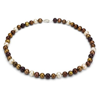DaVonna Sterling Silver 7-8mm Multi Brown Freshwater Pearl Necklace (16-36 inches)