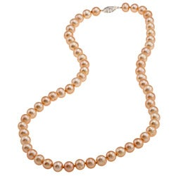 DaVonna Silver Golden FW Pearl 20-inch Necklace (7.5-8 mm)