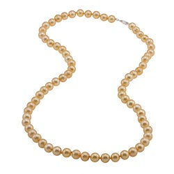 DaVonna Silver Golden FW Pearl 24-inch Necklace (7.5-8 mm)