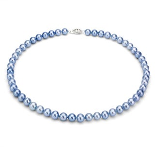 DaVonna Silver Blue FW Pearl 24-inch Necklace (7.5-8 mm)