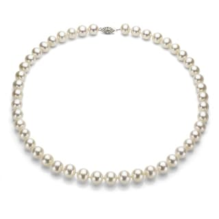 DaVonna Silver White FW Pearl 36-inch Necklace (7.5-8 mm)