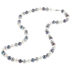 DaVonna Silver Dark Multi FW Pearl 20-inch Necklace (6.5-7 mm)