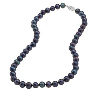 DaVonna Silver Black FW Pearl 16-inch Necklace (7-7.5 mm)