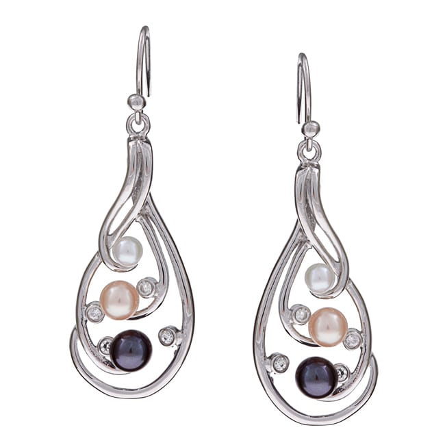Kabella Sterling Silver Freshwater Pearl and Crystal Earrings (3.5-4, 5-5.5 mm)