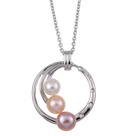 Kabella Sterling Silver Freshwater Pearl and Crystal Necklace (8-9 mm)
