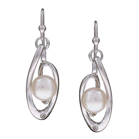 Kabella Sterling Silver Freshwater Pearl and Crystal Earrings (7-8 mm)