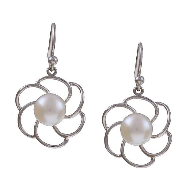 Kabella Sterling Silver Freshwater Pearl Flower Earrings (8-8.5 mm)
